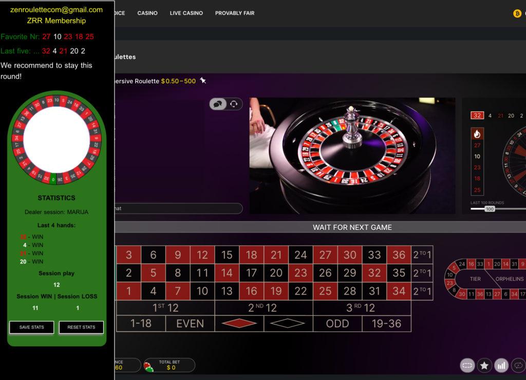 Zen roulette recommendation software